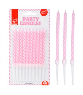 CANDELE PARTY  H 10 CM ROSA